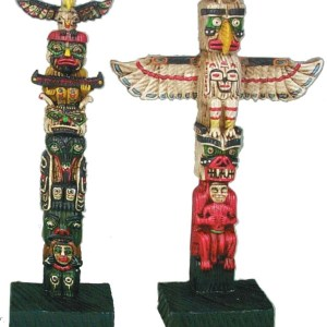 """8"""" Polyresin Molded Totem Poles. Assorted Styles.   7-90828"""