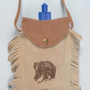 Leather Coverend Canteen with Bear Imprint