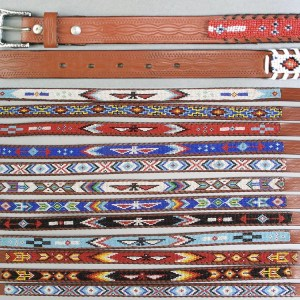 Native American Design Beaded LeatherBelts - Adult Sizes