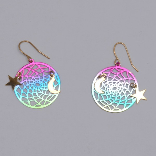 Rainbow Dream Catcher with Moon and Star Earrings