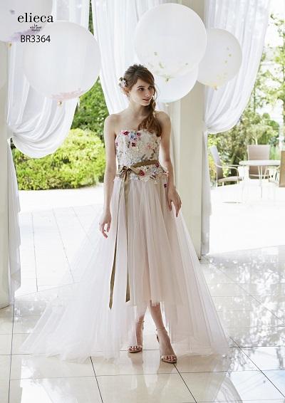 ミモレ丈のカラードレス
