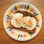 truffle pesto poached egg toast
