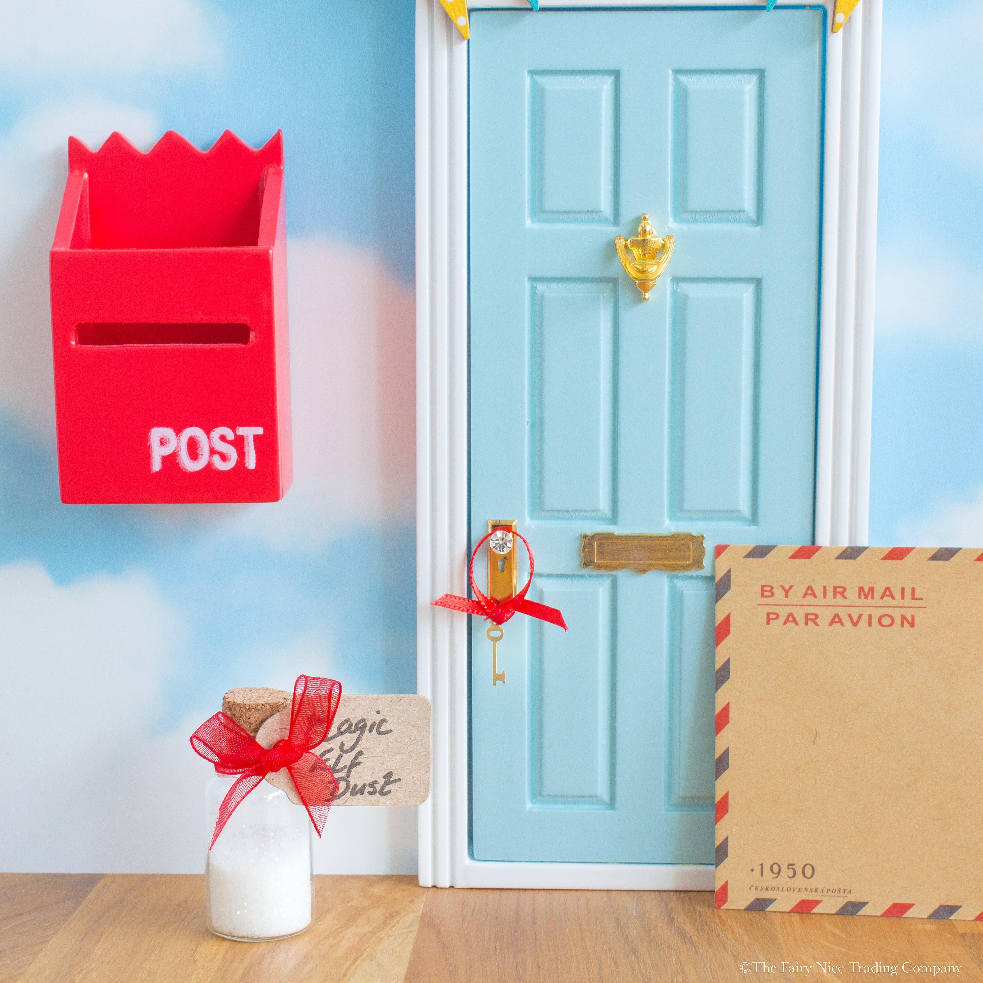 personalised magic Elf Door uk  sc 1 st  Fairy Nice Trading & Blue Magic Elf Door with bunting | The Fairy Nice Trading Company