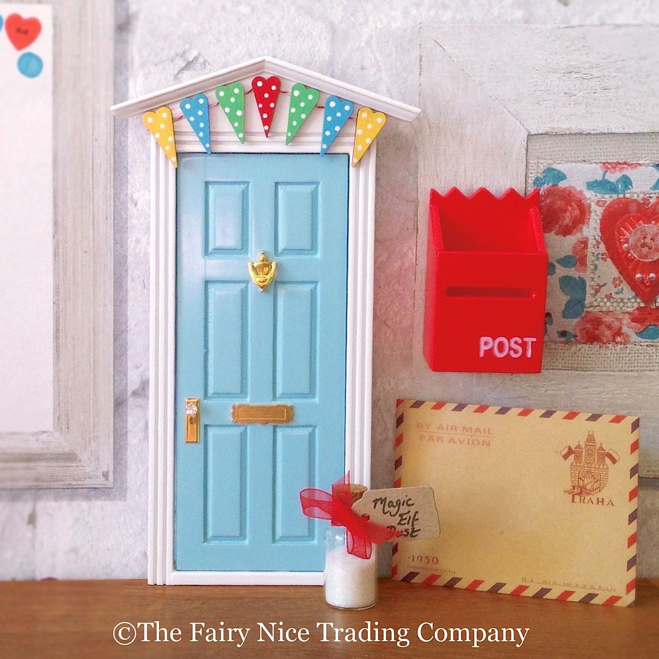Blue magic elf door with bunting the fairy nice trading for The magic elf door