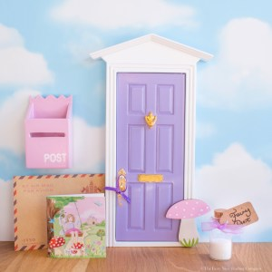 Purple Fairy Door with toadstool, UK