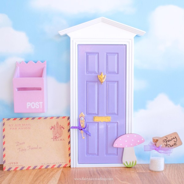 purple fairy door with toadstool uk