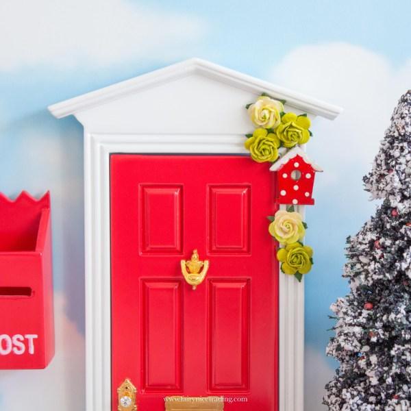 red fairy door for christmas