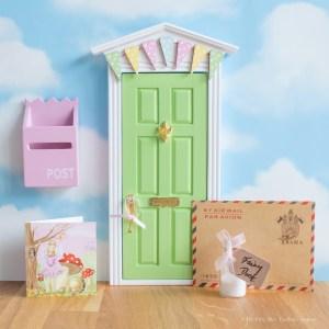 green Fairy Door with bunting, UK