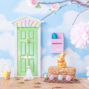 green fairy door with bunting