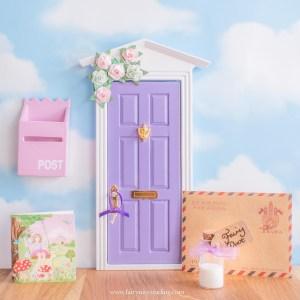 purple Fairy Door with roses UK