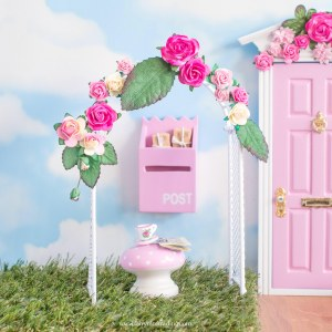 pink flower arch for fairy doors