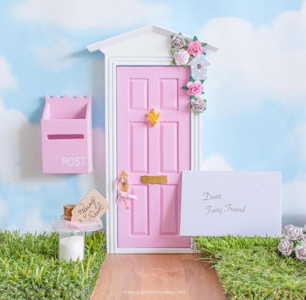 pink and grey fairy door