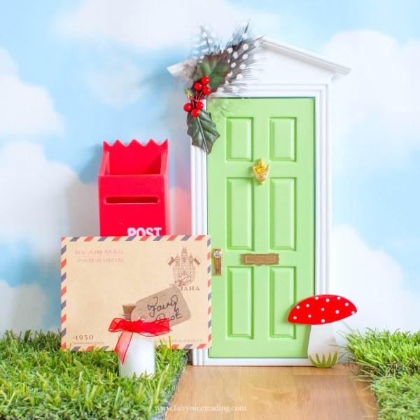 green fairy door with toadstool uk