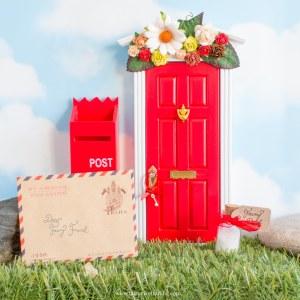 red fairy door with flower wall uk