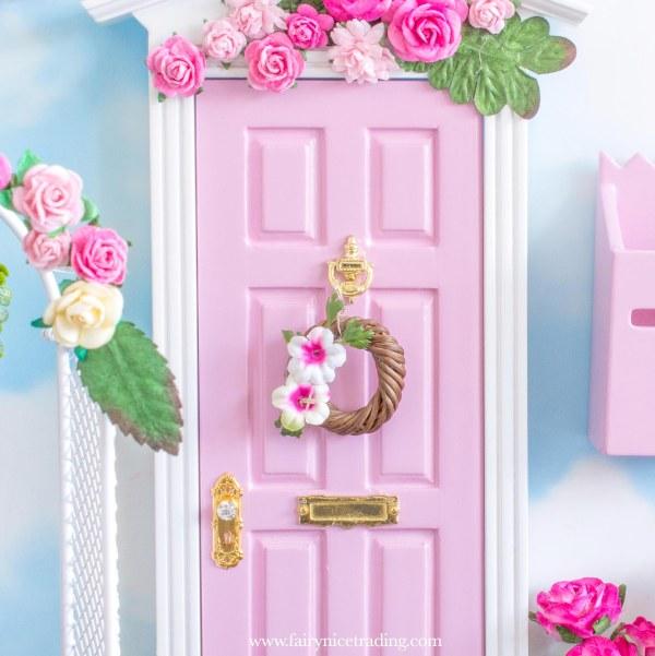 pink miniature flower wreath for fairy doors