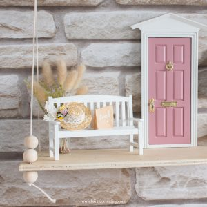 white miniature bench for fairy doors