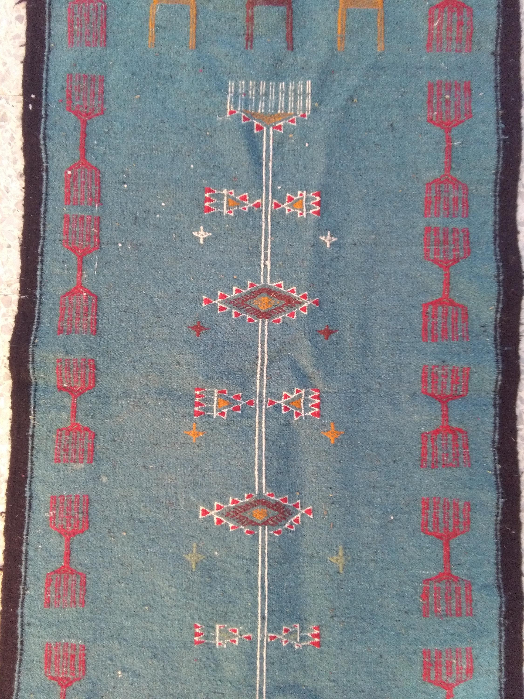 chemin kilim bleu blanc rouge tapis tapis kilim tapis fait a la main laines tisse a la main grand kilim tapis kilim 160 cm 62 cm
