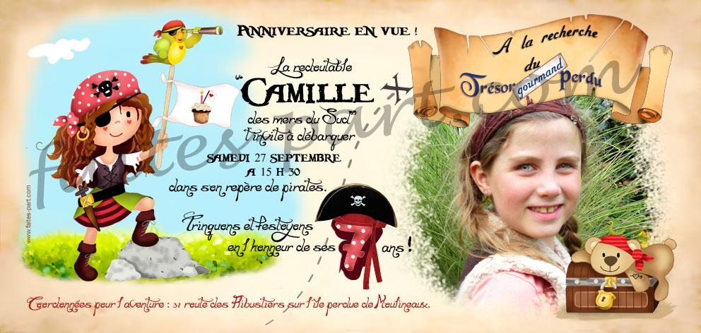 invitation anniversaire pirate cartes