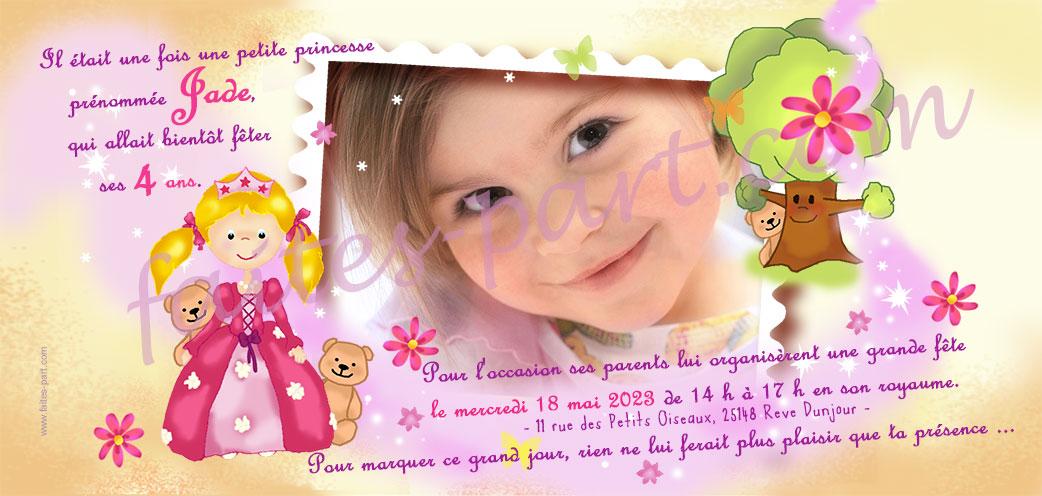 invitation d anniversaire princesse