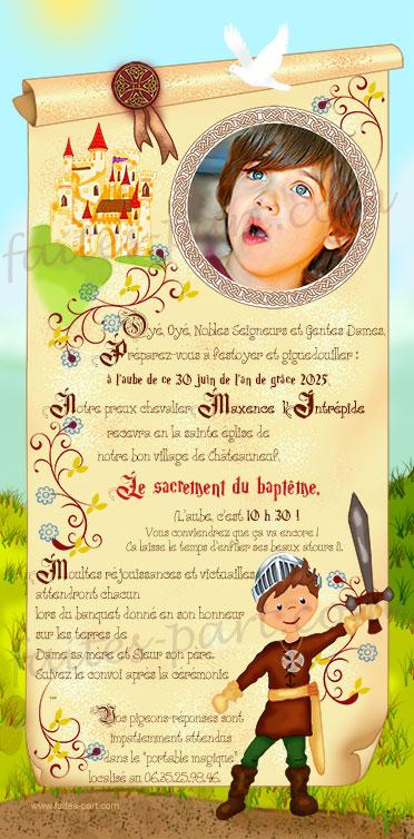 invitation pour bapteme chevalier