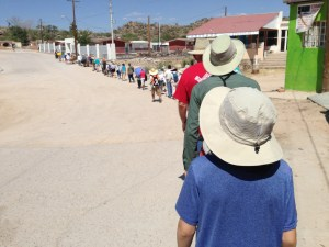 The line of 50+ walkers, walking in a silent procession to begin the 75 mile trek.