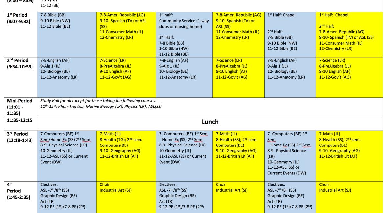 New MS/HS Block Schedule