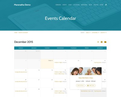 Built-in Events Calendar