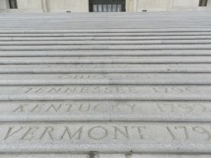 steps LA state capitol engraved with state names