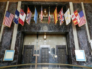 country flags that ruled LA displayed in LA state capitol