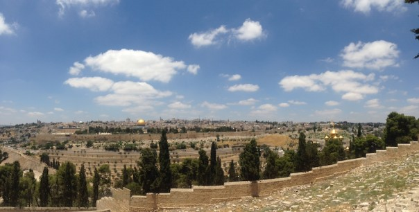 Under an azure sky, the old city of Jerusalem sits above the Hebron Valley in June 2014.