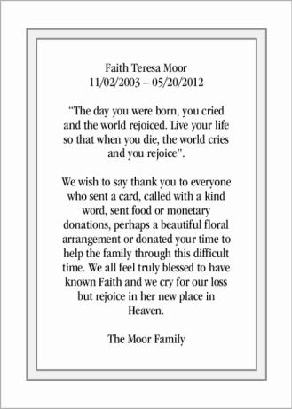 Faith Teresa Moor Thank You
