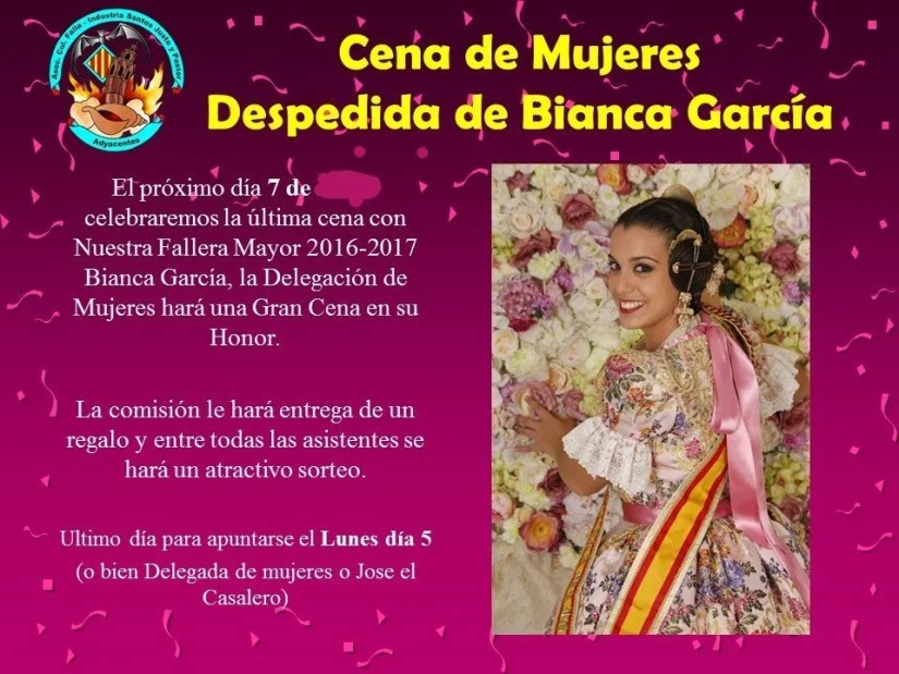 Cena de Mujeres Despedida Bianca