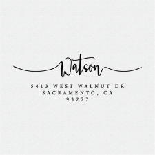 A handwritten sloppy cursive family return address stamp. Addressing your mail has never been easier! T262
