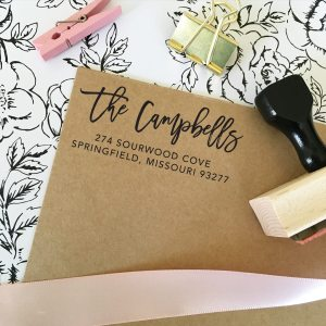 Rough Cursive Return Address Stamp - Style 382