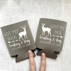 Got My Buck, Got My Doe, Hunting Wedding Koozies – Style T380