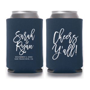 Personalized Wedding Koozie Brush Script - Style T409