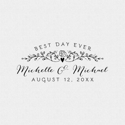 Best Day Ever Cottage Chic Style Wedding Favor Stamp – T427