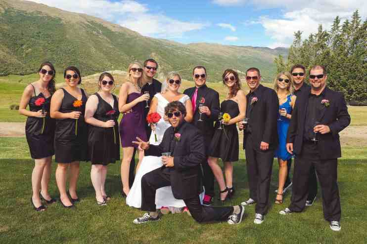 Queenstown Wedding Formals Peregrine winery ceremony-bridal-party-photo-fun