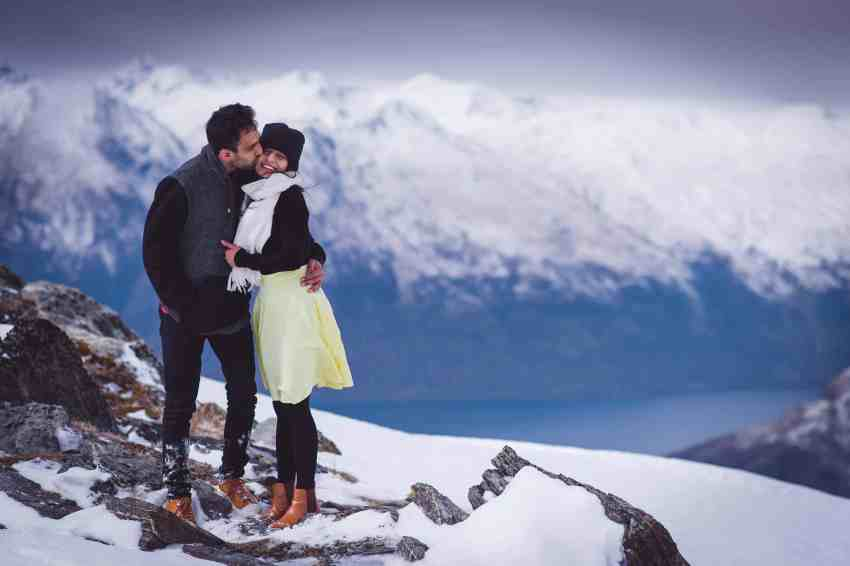 Surprise Cecil Peak Heli Proposal Heliworks Queenstown Fallon Photography