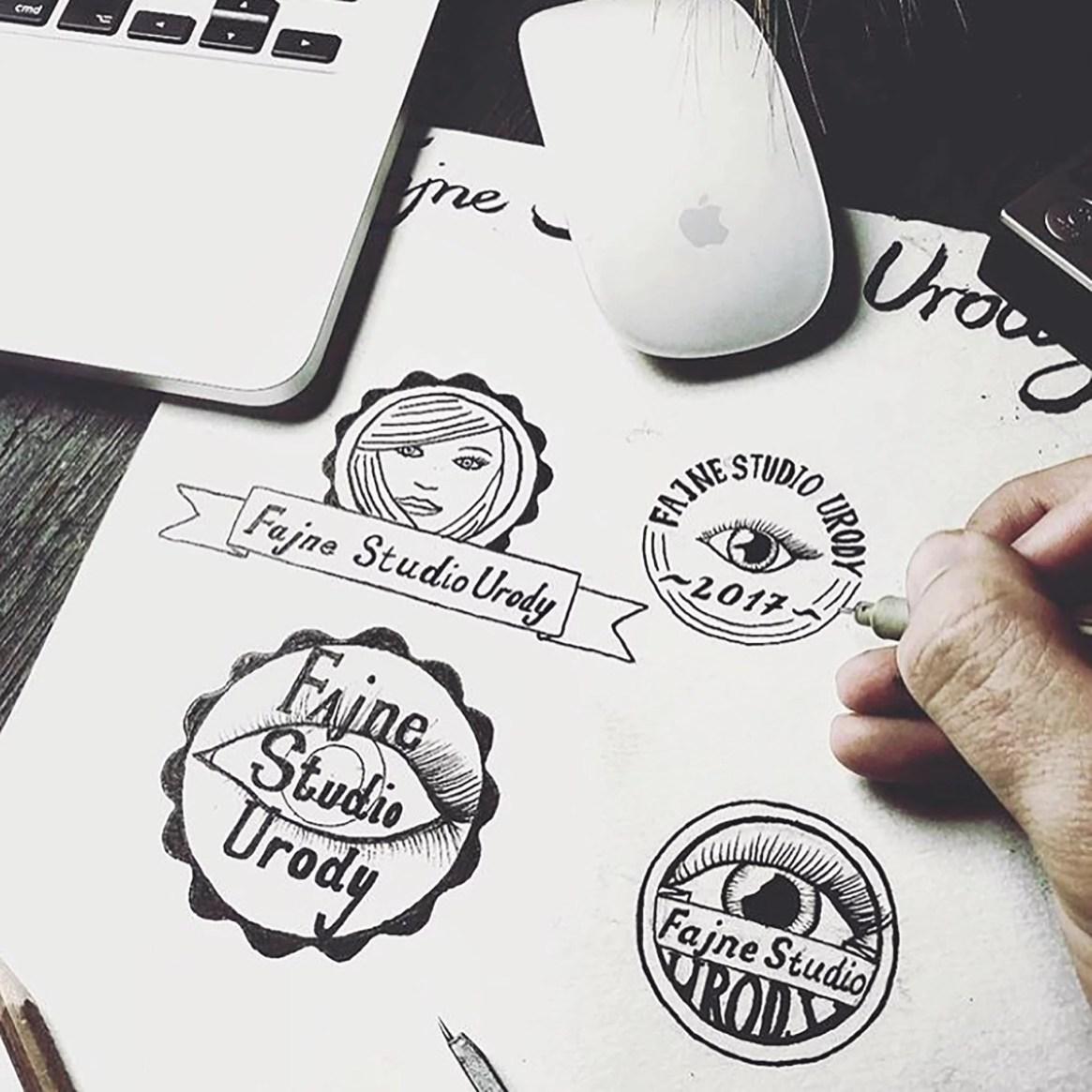 Szkice logo fajny salon urody