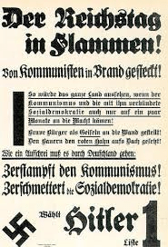 Campaign poster for Hitler blaming the communists for the Reichstag