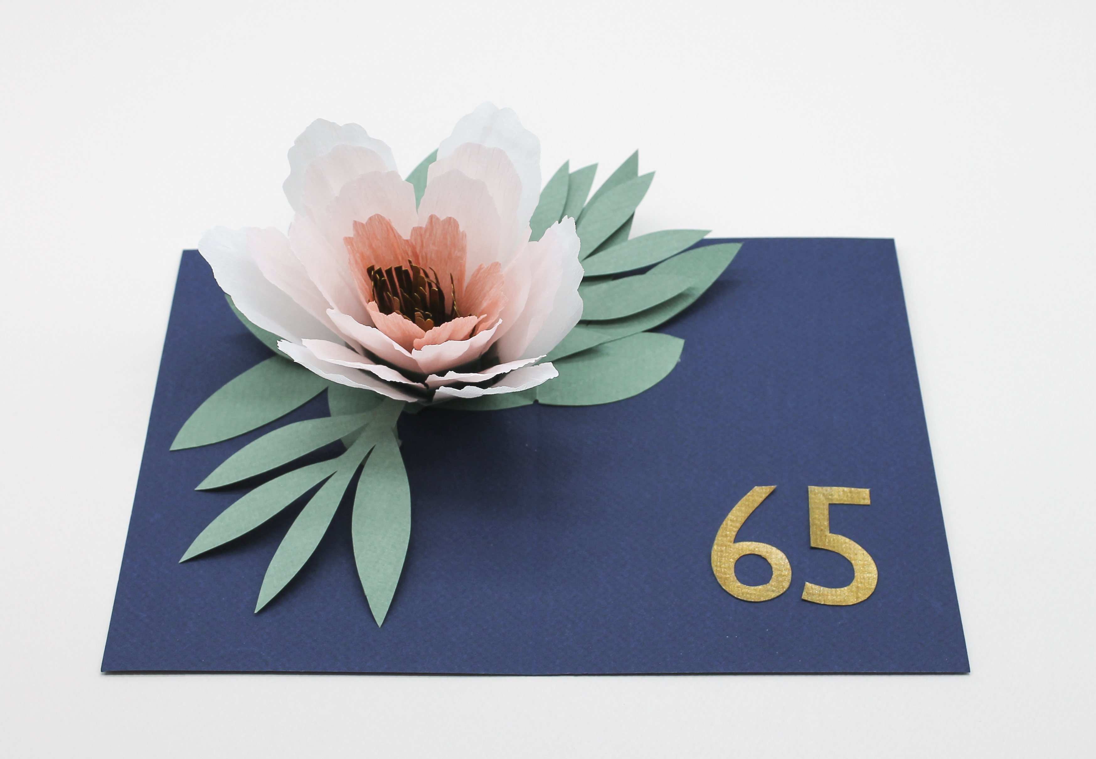 Pop up card flower faltmanufaktur tina kraus pop up card with a paper flower for a 65th birthday mightylinksfo