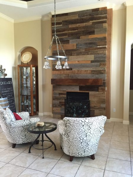 Lynn s Reclaimed Wood Accent Wall with Custom Mantle   Fama Creations Reclaimed Wood Wall Fireplace with Mantle Reclaimed Wood Wall Fireplace  with Mantle