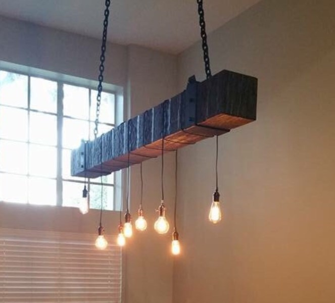 Reclaimed Wood Beam Chandelier with Edison Bulbs   Fama Creations reclaimed wood beam chandelier with vintage lights