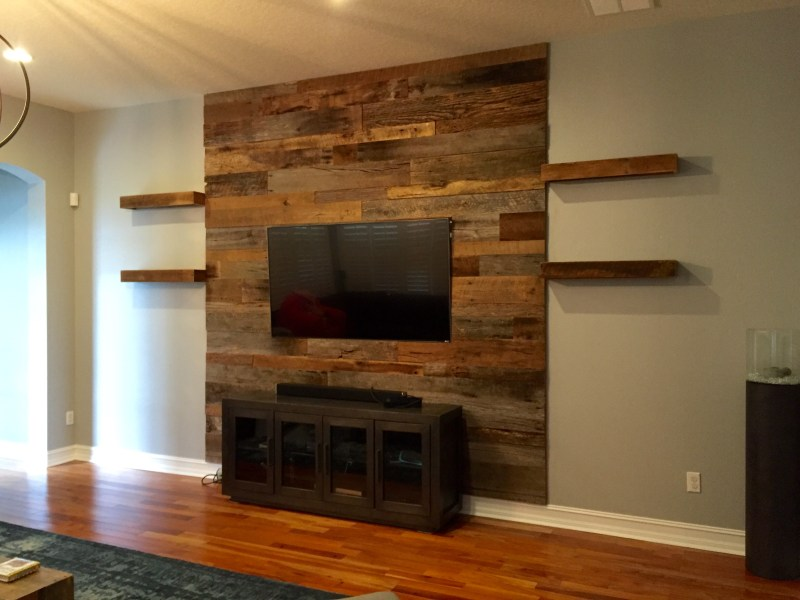 Trevor s Reclaimed Barn Wood Accent Wall with Shelving   Fama Creations