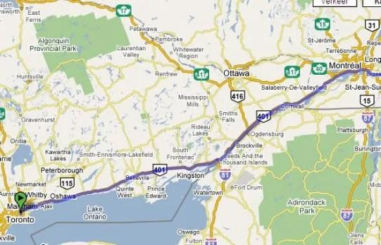 Route van toronto naar farnham