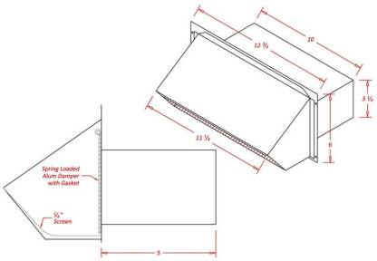 Rectangular Appliance Wall Vent 3-1/4 in. x 10 in.-1039