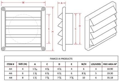 Plastic Wall Vent with Fixed Louvers-1228