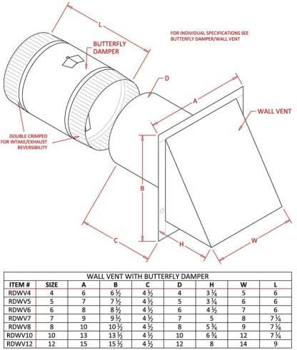 Galvanized Wall Vent - Reversible Backdraft Damper-1208