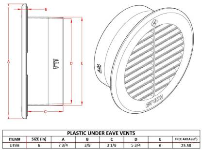 Round Soffit / Under Eave Vent - Plastic - 6 inch-1557